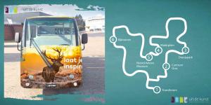 De route en een afbeelding van het gratis toeristentreintje