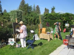 Diverse schilders op de schilderdag